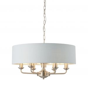 Highclere 6 Light E14 Brushed Chrome Ceiling Pendant C/W Duck Egg Linen Mix Fabric Shade With Brushed Metallic Inner