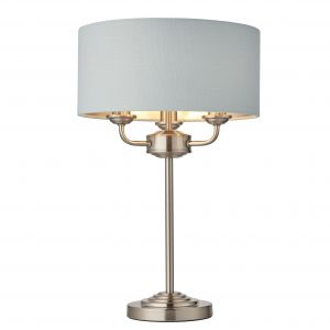 Highclere 3 Light E14 Brushed Chrome Table Lamp C/W Duck Egg Linen Mix Fabric Shade With Brushed Metallic Inner