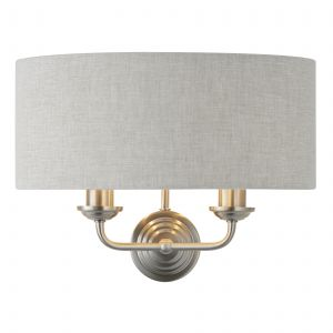 Highclere 2 Light E14 Brushed Chrome Wall Light C/W Natural 100% Linen Fabric Shade With Brushed Metallic Inner