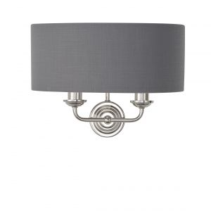 Highclere 2 Light E14 Bright Nickel Wall Light C/W Charcoal Linen Mix Fabric Shade With Brushed Metallic Inner