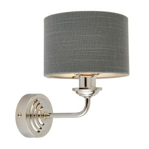Highclere 1 Light E14 Bright Nickel Wall Light C/W Charcoal Linen Mix Fabric Shade With Brushed Metallic Inner