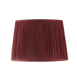 "Wentworth 12"" Dark Cranberry 100% Silk Tapered Hand Stitched Single Pinch Pleats Fabric Shade"