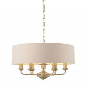 Highclere 6 Light E14 Champagne Painted Ceiling Light C/W Blush Pink Linen Mix Fabric Shade With Brushed Metallic Inner
