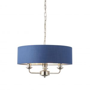 Highclere 3 Light E14 Bright Nickel Ceiling Pendant C/W Midnight Blue Linen Mix Fabric Shade With Brushed Metallic Inner