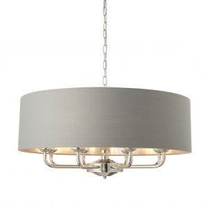 Highclere 8 Light E14 Bright Nickel Ceiling Pendant C/W Charcoal Linen Mix Fabric Shade With Brushed Metallic Inner
