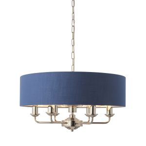 Highclere 6 Light E14 Bright Nickel Ceiling Pendant C/W Midnight Blue Linen Mix Fabric Shade With Brushed Metallic Inner