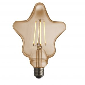 4W E27 Amber Tinted LED Filament Star Bulb, 2700K 400 Lumens