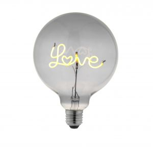 2W E27 Smoke Tinted LED LOVE Up Filament 125mm Globe Bulb, 2200K 70 Lumens