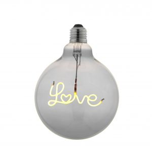 2W E27 Smoke Tinted LED LOVE Down Filament 125mm Globe Bulb, 2200K 70 Lumens
