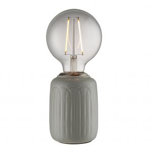 Olivia 1 Light E27 Gloss Thyme Glaze Handmade Ceramic Table Lamp With Satin Nickel Metalwork With Inline Switch