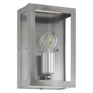Alamonte 1, Light E27 Outdoor IP44 Stainless Steel Wall Light With Clear Glass