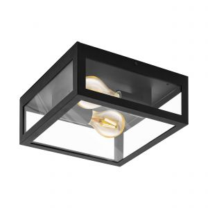 Alamonte 1, 2 Light Outdoor E27 IP44 Black Wall Light/Flush With Clear Glass