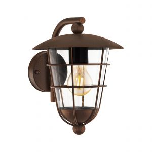 Pulfero 1 1 Light E27 Outdoor Wall Light Brown With Plastic Transparent Glass