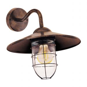 Melgoa 1 Light E27 Outdoor IP44 Wall Light Copper Antique With Clear Glass