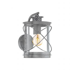 Hilburn 1, 1 Light E27 Outdoor IP44 Down Wall Light Antique Silver With Plastic Transparent Panels