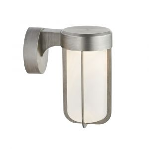 Pacato 1 Light 8W Integrated LED 2700K, 470lm Brushed Silver Die Cast IP44 Outdoor Wall Light With Frosted Glass Shade