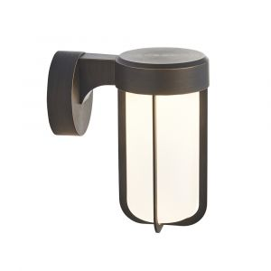 Pacato 1 Light E27 Brushed Bronze Die Cast IP44 Outdoor Wall Light With Frosted Glass Shade