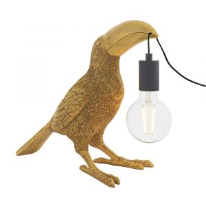 Gatto 1 Light E27 Vintage Gold Toucan Table Lamp With Inline Switch