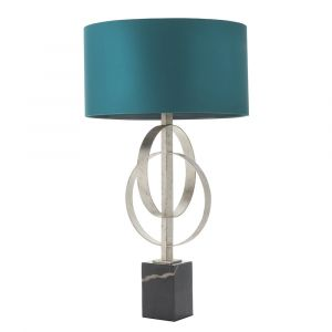 Vitra 2 Light E27 Silver Leaf Double Hoop Table Lamp With Inline Switch C/W Teal Shade