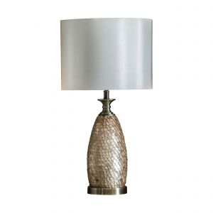Dahlisbon 1 Light E27 Antique Brass With Capiz Detailed Finish Table Lamp C/Wivory Fabric Shade With Inline Switch