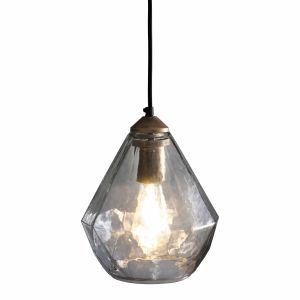 Ebbe 1 Light E27 Antique Gold Pendant C/W Clear Glass Shade