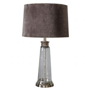 Winslet 1 Light E27 Clear Hammered Column With Bright Nickel Table Lamp C/W Grey Velvert Shade With Inline Switch