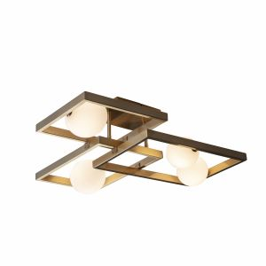 Melek 4 Light G9 Aged Brass Semi-Flush Ceiling Light C/W Opal Spherical Glass Shades