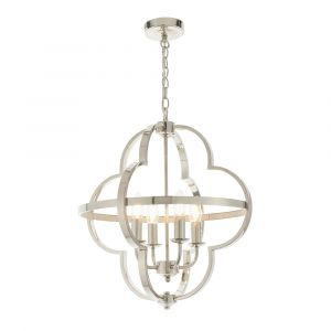 Dansani 4 Light Bright Nickel Adjustable Shaped Pendant With Clear Faceted Reflective Details