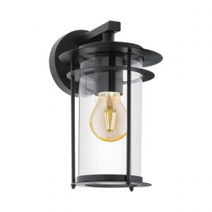 Valdeo 1 Light E27 Outdoor IP44 Wall Light Black With Clear Glass