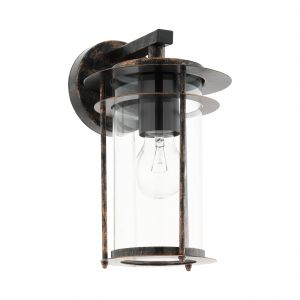 Valdeo 1 Light E27 Outdoor IP44 Copper Antique Wall Light With Clear Glass