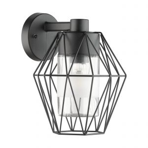 Canove 1 Light E27 Outdoor IP44 Black Wall Light With Clear Glass