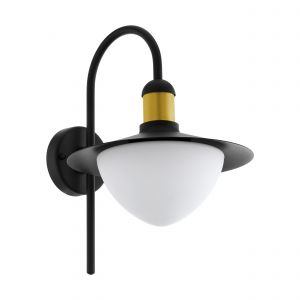 Sirmione 1 Light E27 Outdoor IP44 Black Wall Light With White Glass