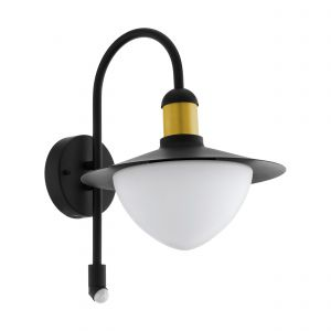 Sirmione 1 Light E27 Outdoor IP44 Black Wall Light With Opal Glass
