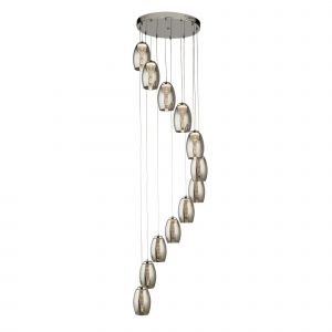 12 Light Multi Drop LED Pendant With Smoked Glass