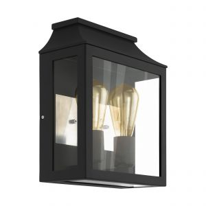 Soncino 1 Light E27 Outdoor IP44 Black Wall Light With Clear Glass