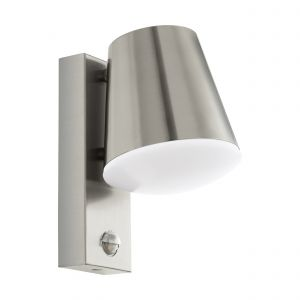 Caldiero 1 Light E27 Low Energy Outdoor IP44 Stainless Steel Wall Light With Plastic White Diffuser