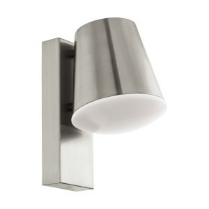 Caldiero-C 1 Light Low Energy E27 Outdoor IP44 Stainless Steel Wall Light With Plastic White Diffuser