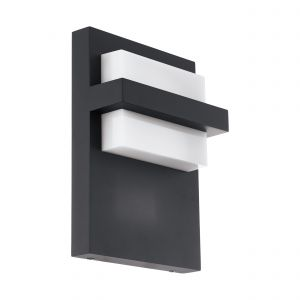 Culpina 1 Light Integrated LED Outdoor IP44 Anthracite Wall Light With Plastic White Diffuser