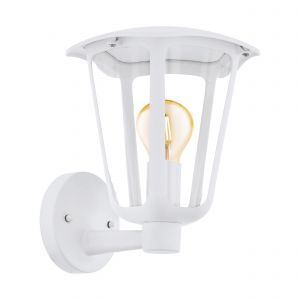 Monreale 1 Light E27 Outdoor White IP44 Wall Light With Plastic Transparent Panels
