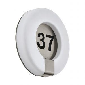 Marchesa 1 Light LED Outdoor Integrated IP44 Stainless Steel Wall Light With Number On Plastic White Diffuser
