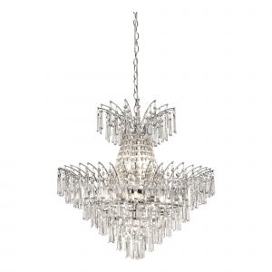 9 Light Chrome Pendant With Crystal Glass Drops