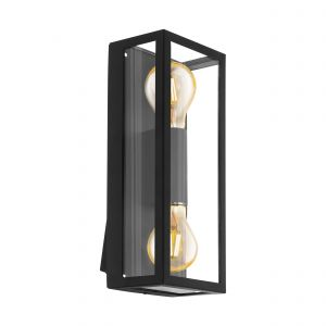 Alamonte 1, 1 Light E27 Outdoor Wall Light Black With Clear Glass
