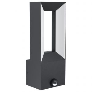 Riforano 1 Light LED Integrated Outdoor IP44 Wall Light Black With PIR And Plastic White Diffuser