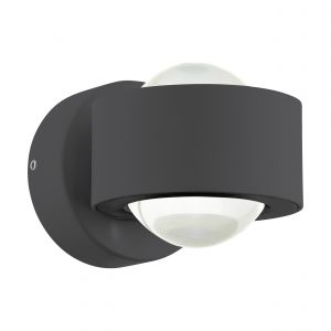 Treviolo 1, Light LED Integrated Outdoor Anthracite Wall Light With White Glass