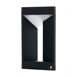 Nembro 1 Light LED Integrated Outdoor Black Pedestal With Plastic Shade