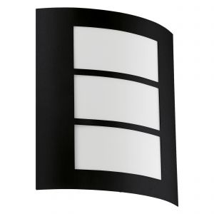 City 1 Light E27 Outdoor Black Wall Light With Plastic White Diffuser