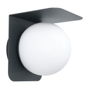 Corrientes 1 Light E27 Outdoor IP44 Wall Light Black With Plastic White Diffuser