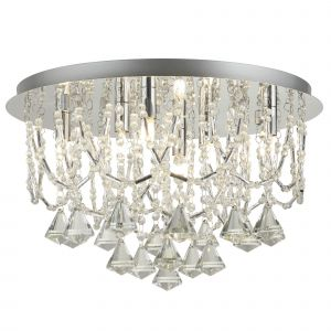 9986-6CC Mela 6 Light Ceiiling Flush, Chrome, Clear Crystal Pyramid Drops & Trim