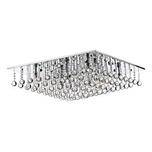 DAR ABA4750 Abacus 8 Light Flush Crystal/Polished Chrome Finish