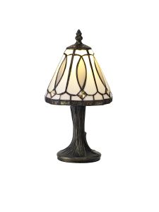 Abbot Tiffany Table Lamp, 1 x E14, White/Grey/Clear Crystal Shade